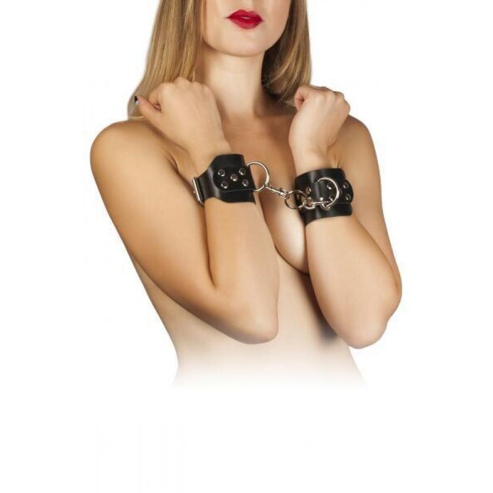 БДСМ наручники - Наручники Leather Hand Cuffs, black