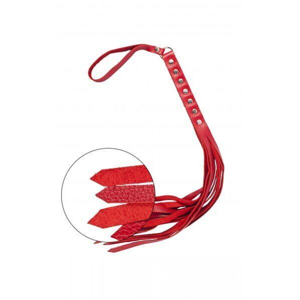 БДСМ плети, шлепалки, метелочки - Флогер S&M Fancy Leather Floger Red, SL280131