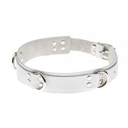 Ошейник Slave leather collar,white