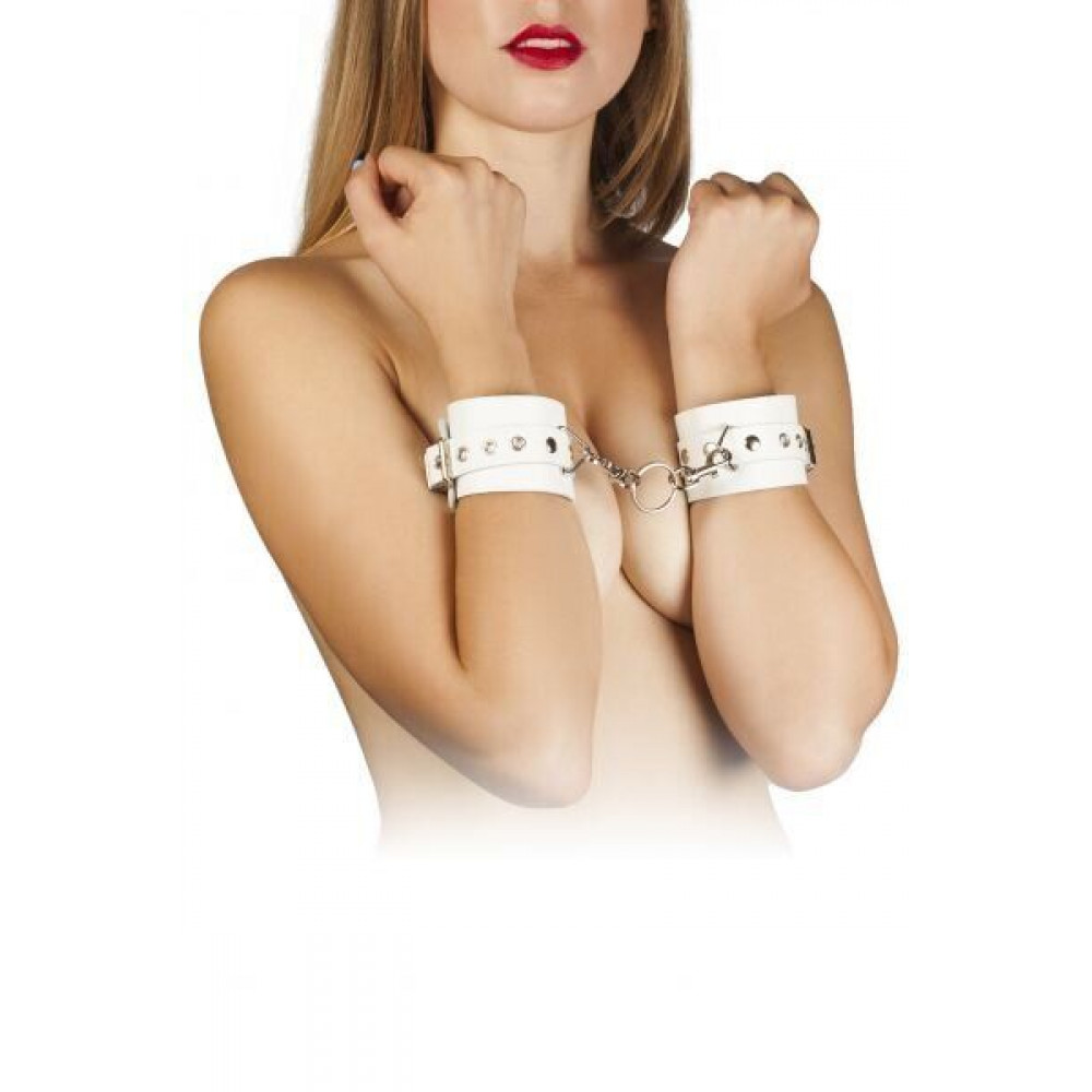 БДСМ наручники - Наручники Leather Restraints Hand Cuffs, WHITE