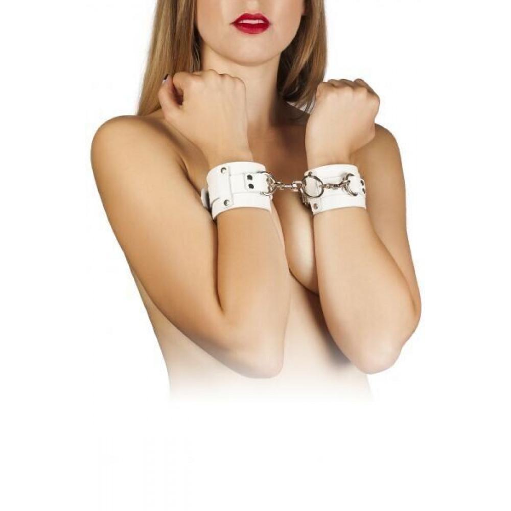 БДСМ наручники - Наручники Leather Dominant Hand Cuffs,white