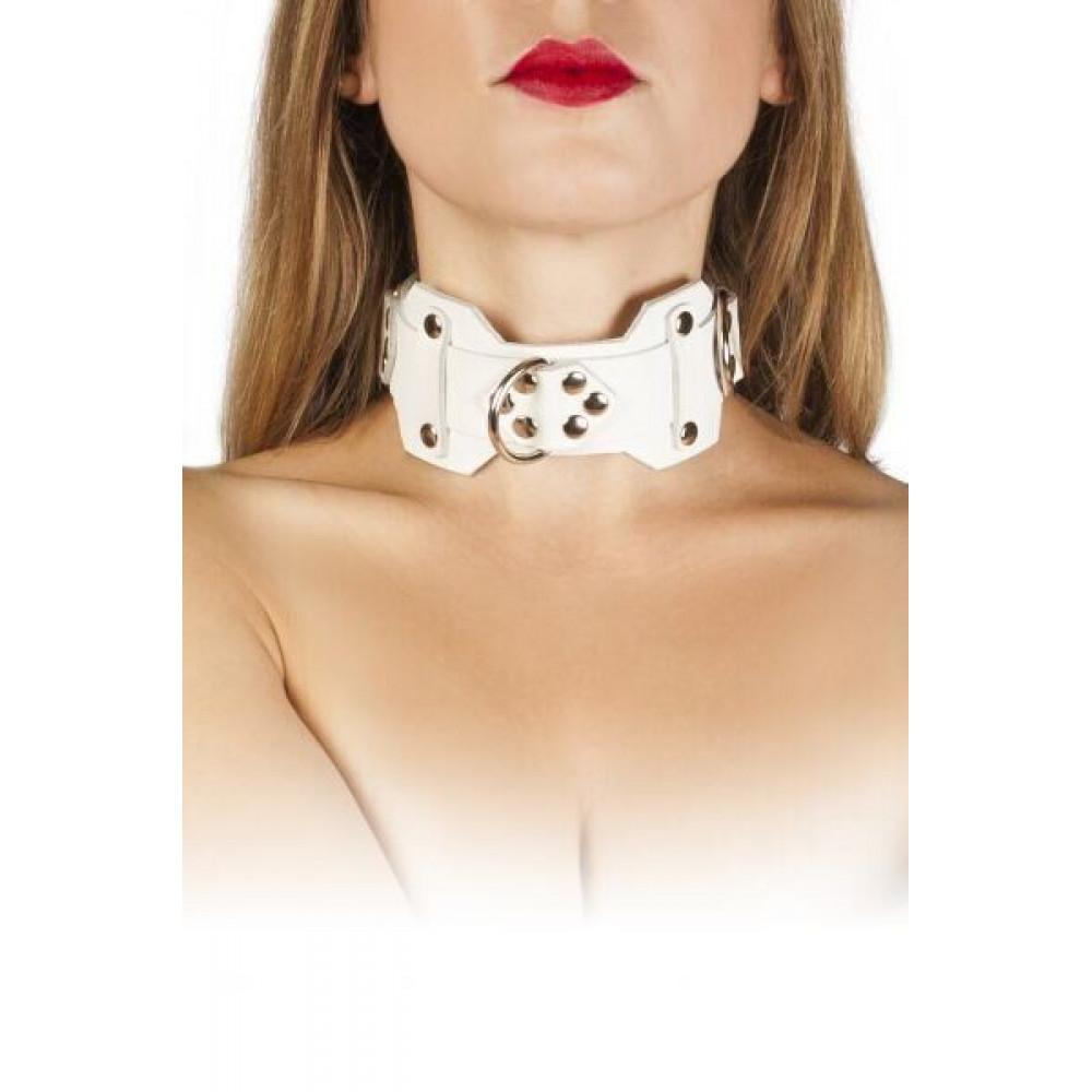 БДСМ ошейники - Ошейник VIP Leather Collar, white
