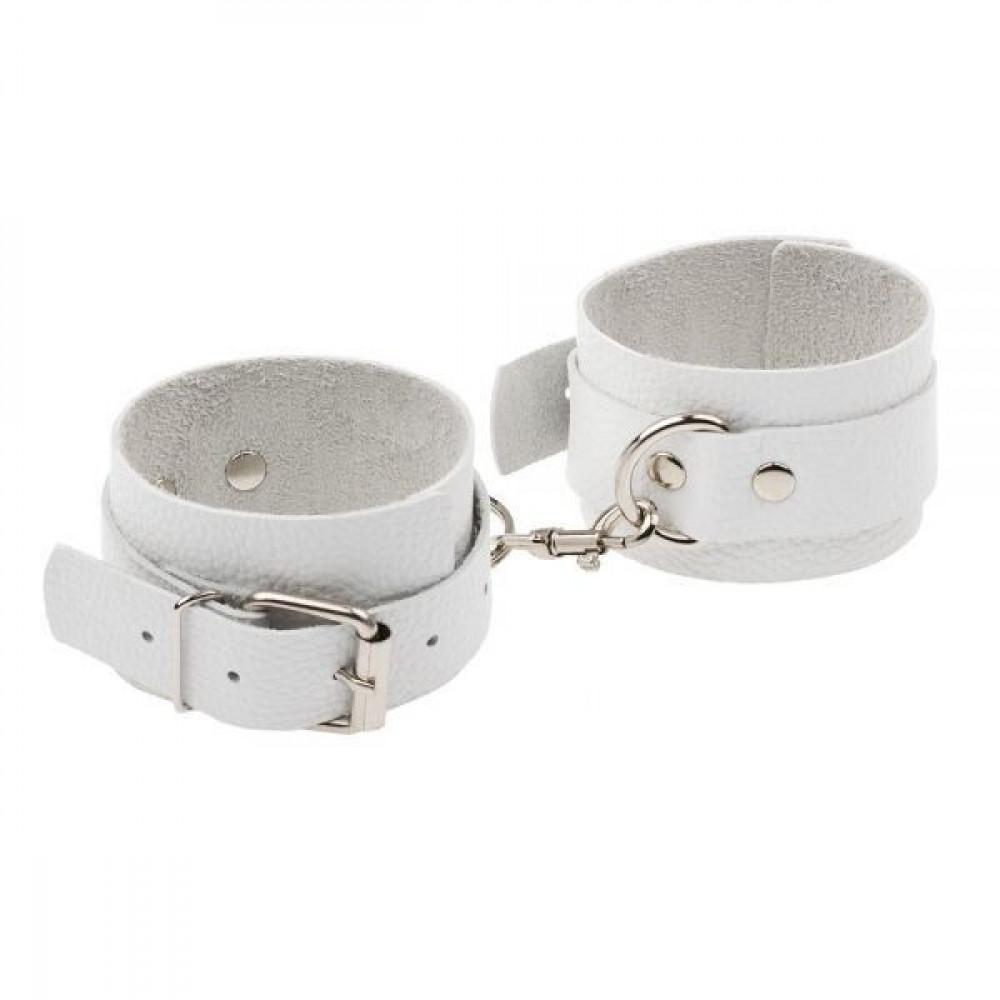 БДСМ наручники - Наручники Leather Standart Hand Cuffs, White