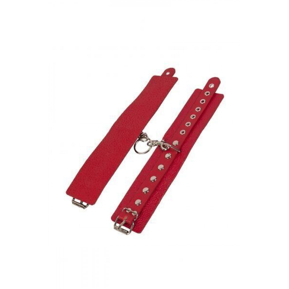 БДСМ наручники - Наручники Leather Restraints Hand Cuffs, red 2