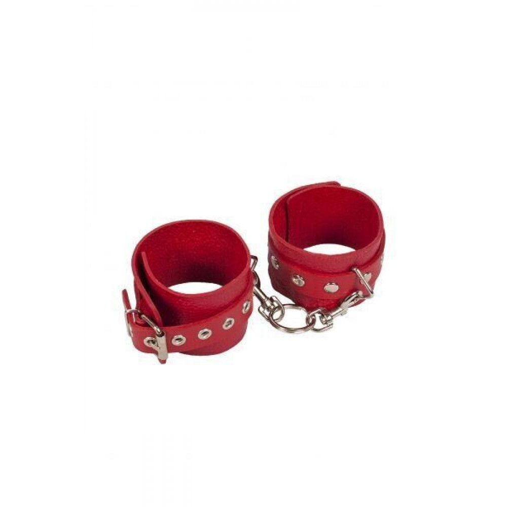 БДСМ наручники - Наручники Leather Restraints Hand Cuffs, red 3