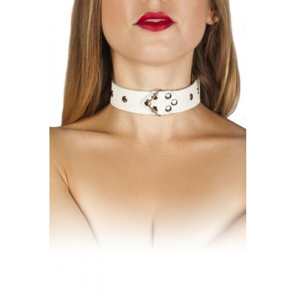 БДСМ ошейники - Ошейник Leather Restraints Collar, white
