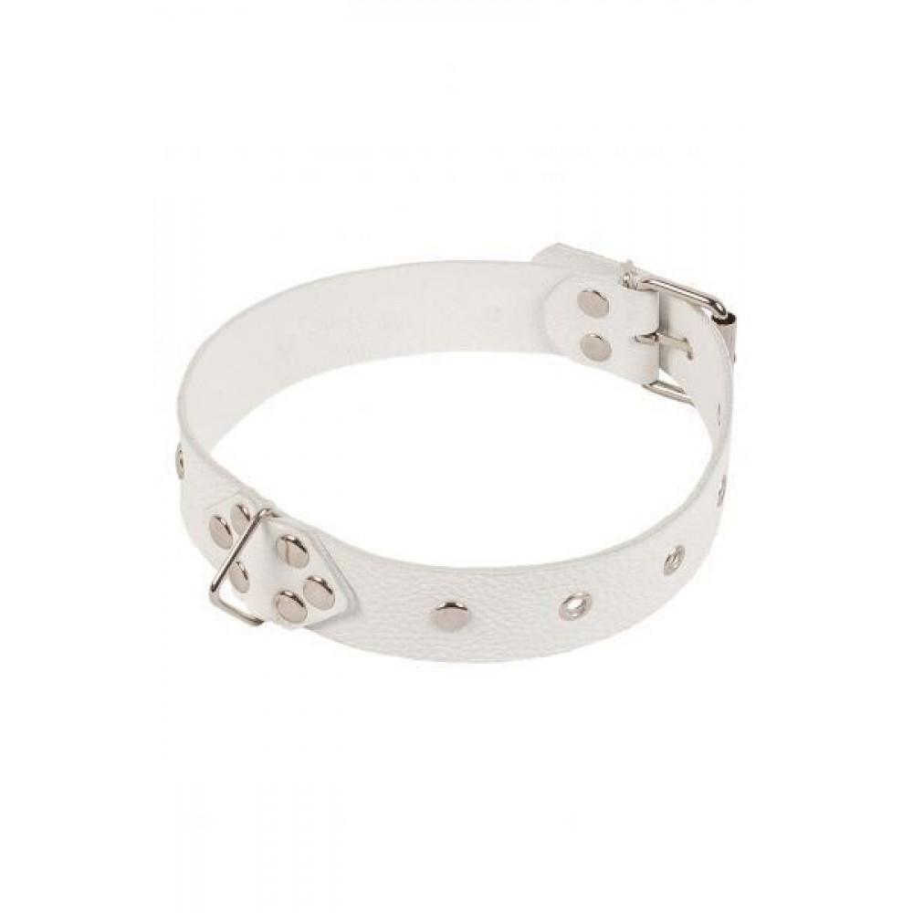 БДСМ ошейники - Ошейник Leather Restraints Collar, white 3