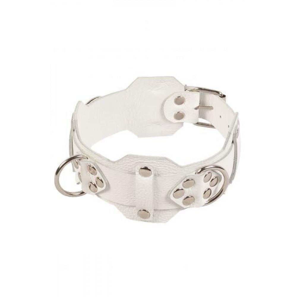 БДСМ ошейники - Ошейник VIP Leather Collar, white 3