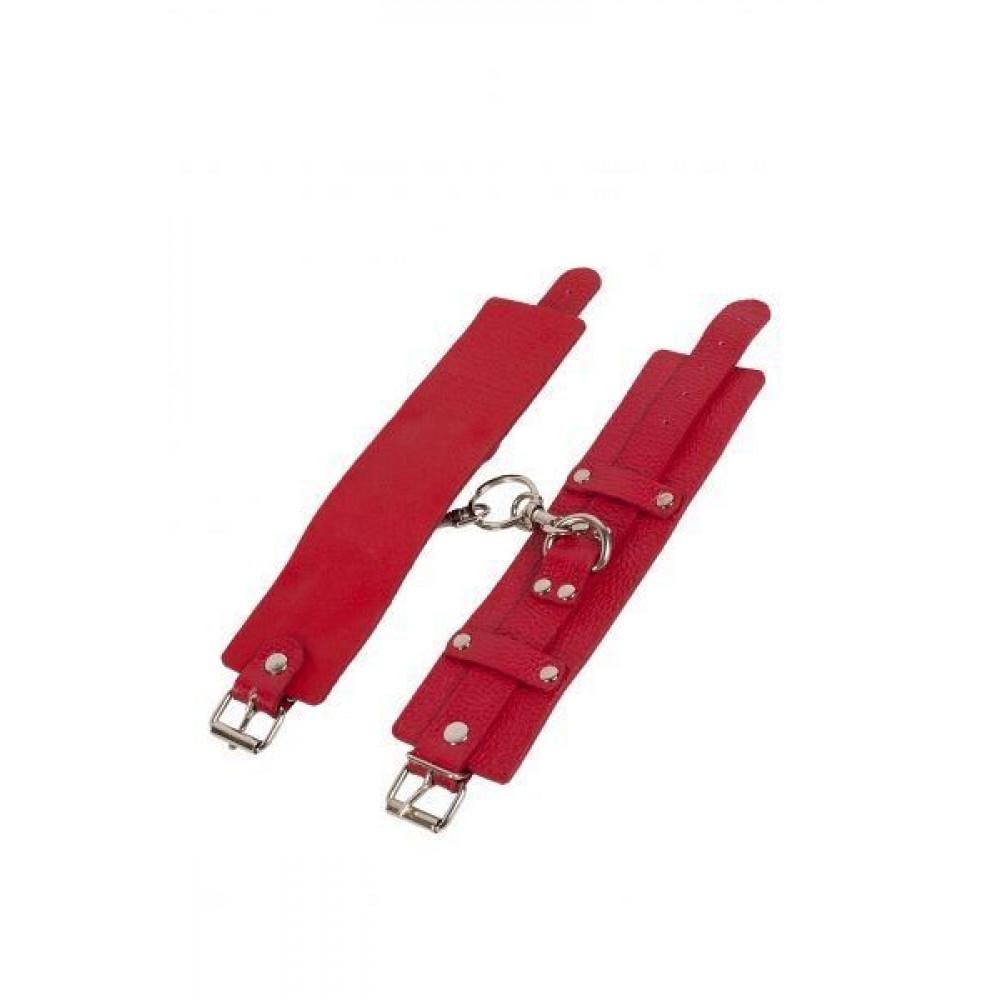 БДСМ наручники - Наручники Leather Dominant Hand Cuffs, red 2