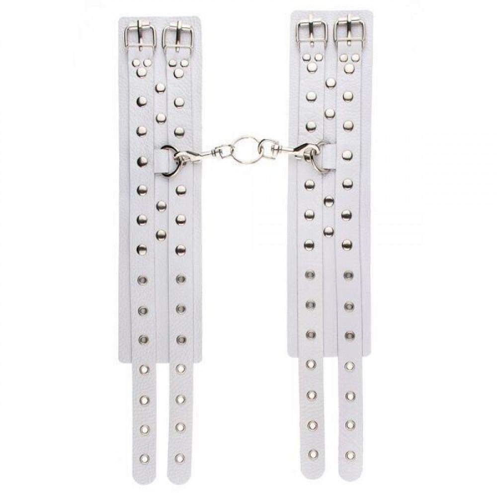 БДСМ наручники - Оковы Leather Double Fix Leg Cuffs, white 2