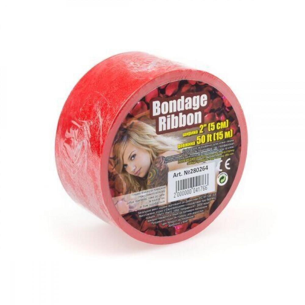 БДСМ аксессуары - Лента для бондажа BONDAGE RIBBON BABY RED ( 15 метров )