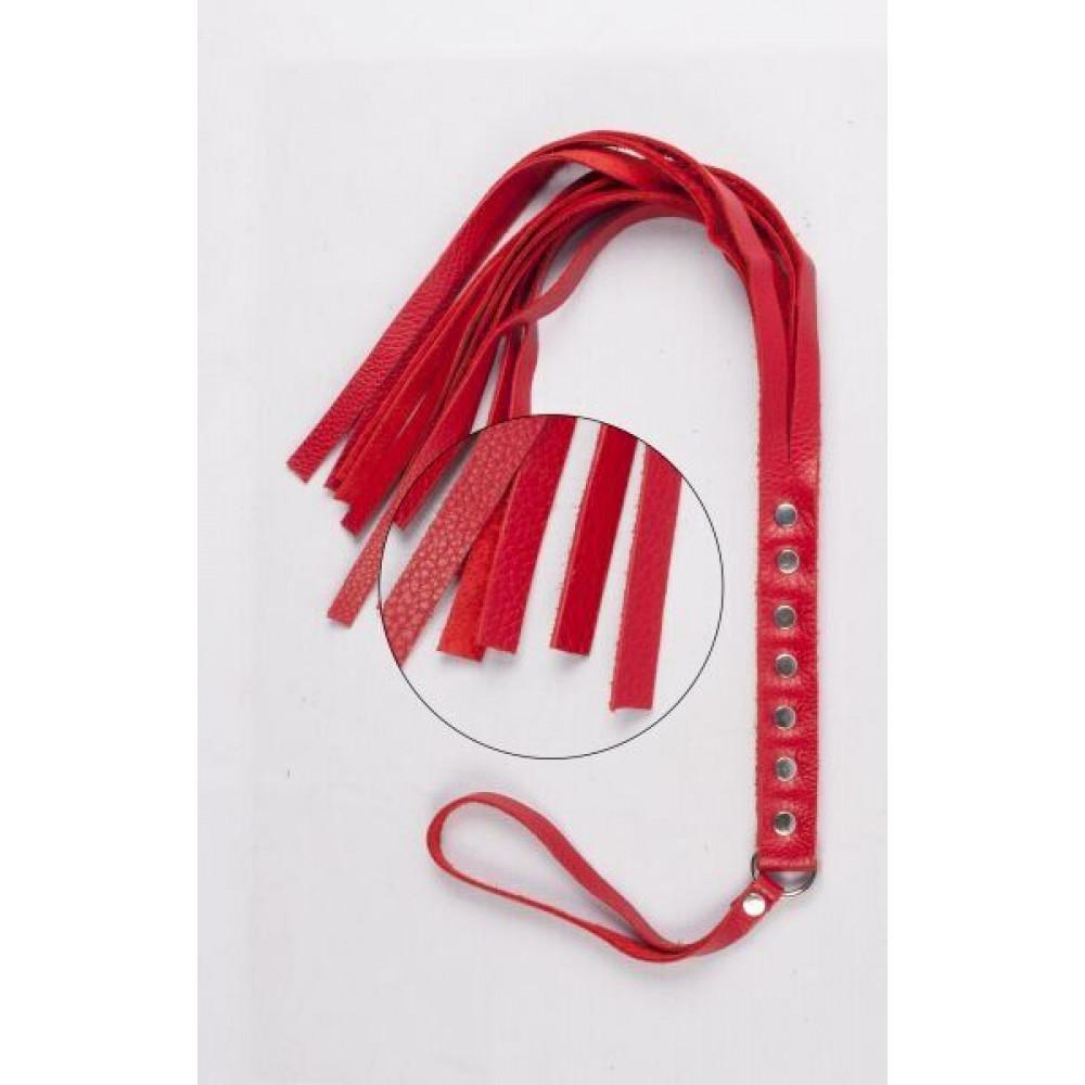 БДСМ плети, шлепалки, метелочки - Флогер S&M Fancy Leather Floger Red 2