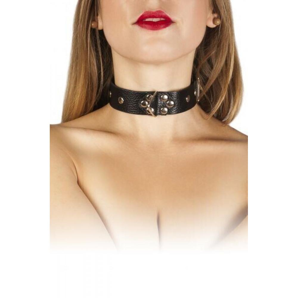 БДСМ ошейники - Ошейник Leather Restraints Collar, black