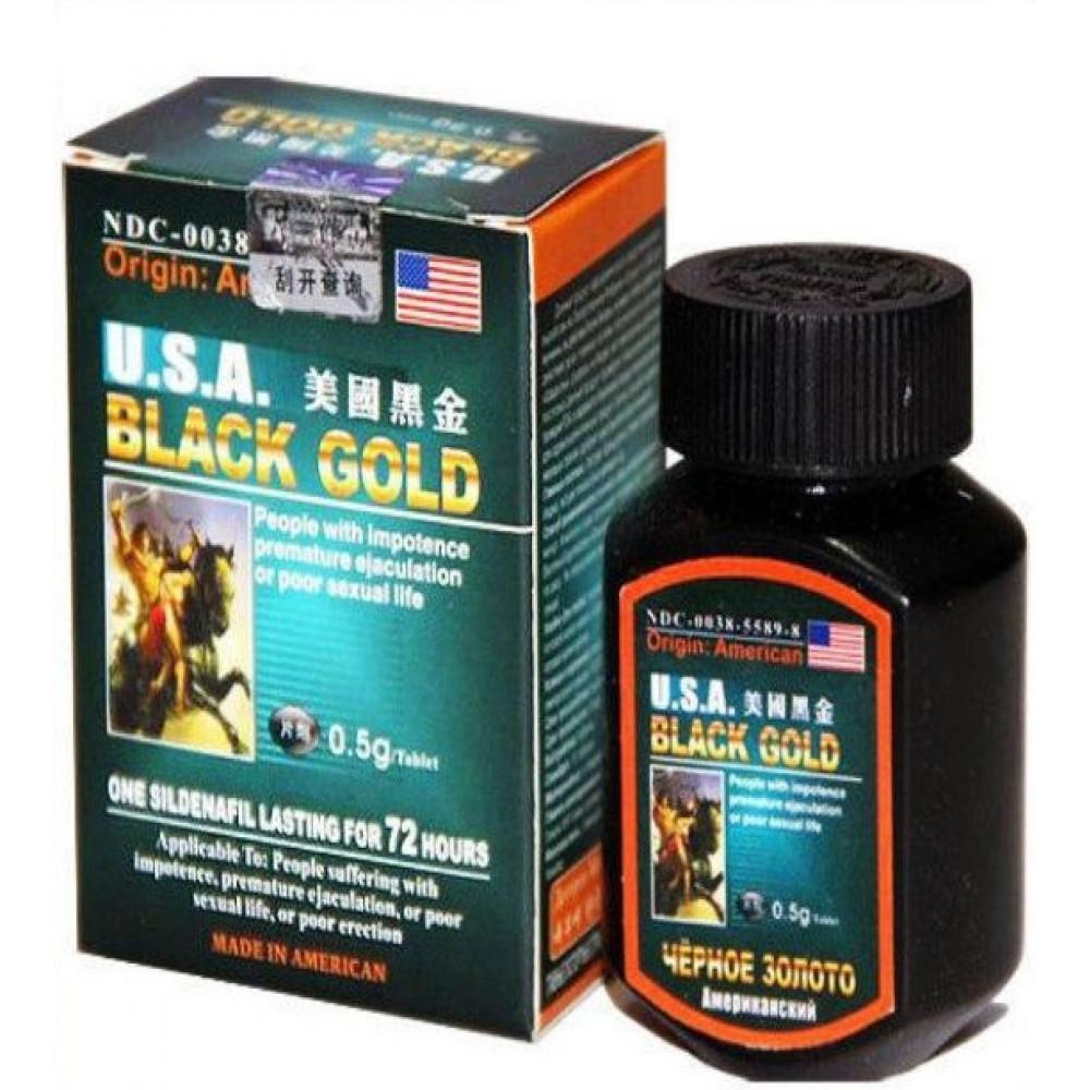 """Мужские возбудители - """"Black Gold"""" (Черное золото) - таблетки для повышения потенции (16 шт)"""