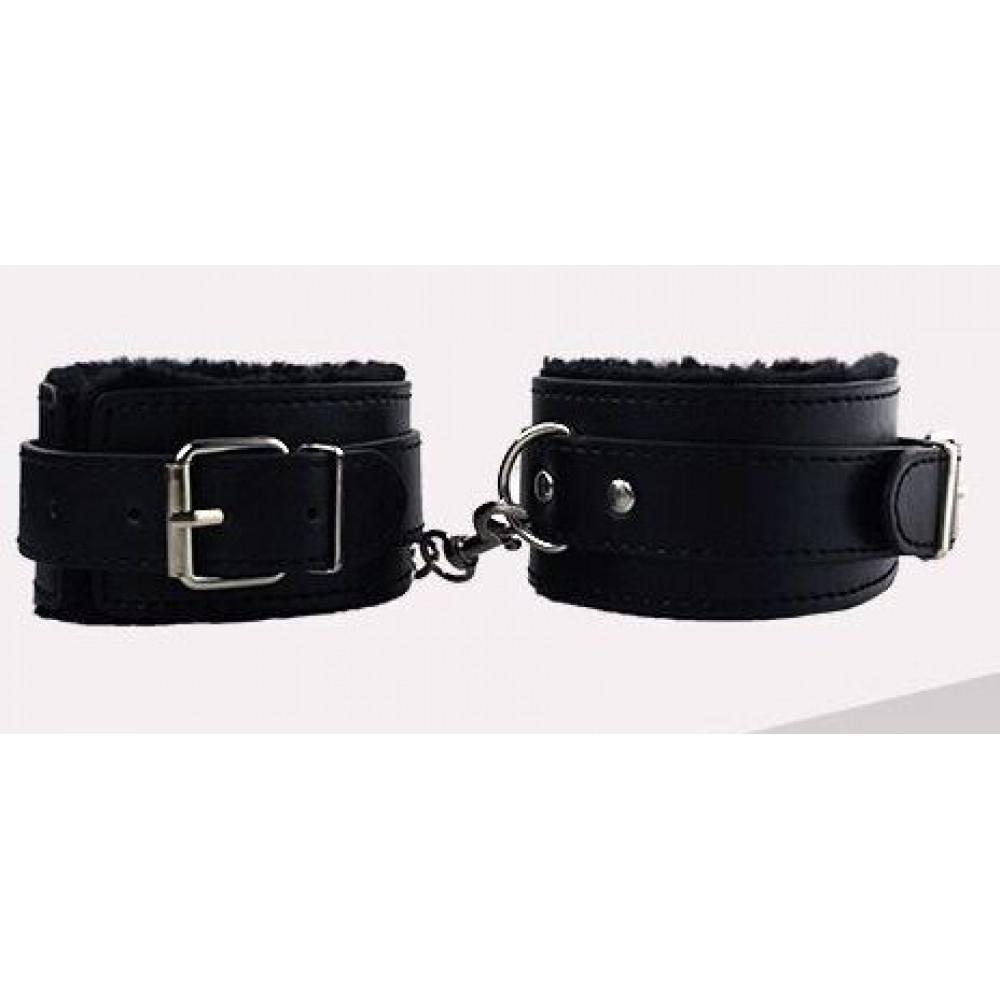 БДСМ наручники - Оковы с мехом SKN-C053, BLACK 2