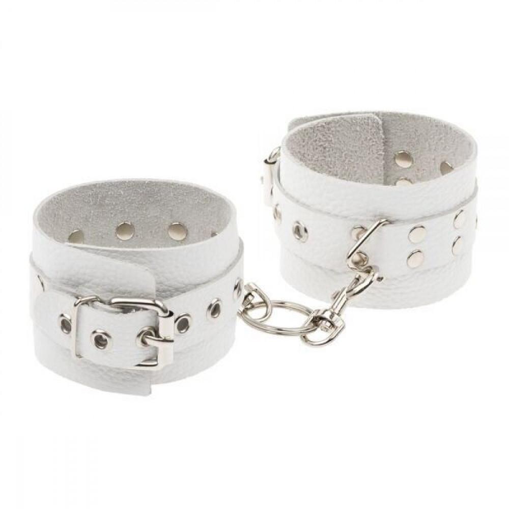 БДСМ наручники - Наручники Leather Rastraints Hand Cuffs, White