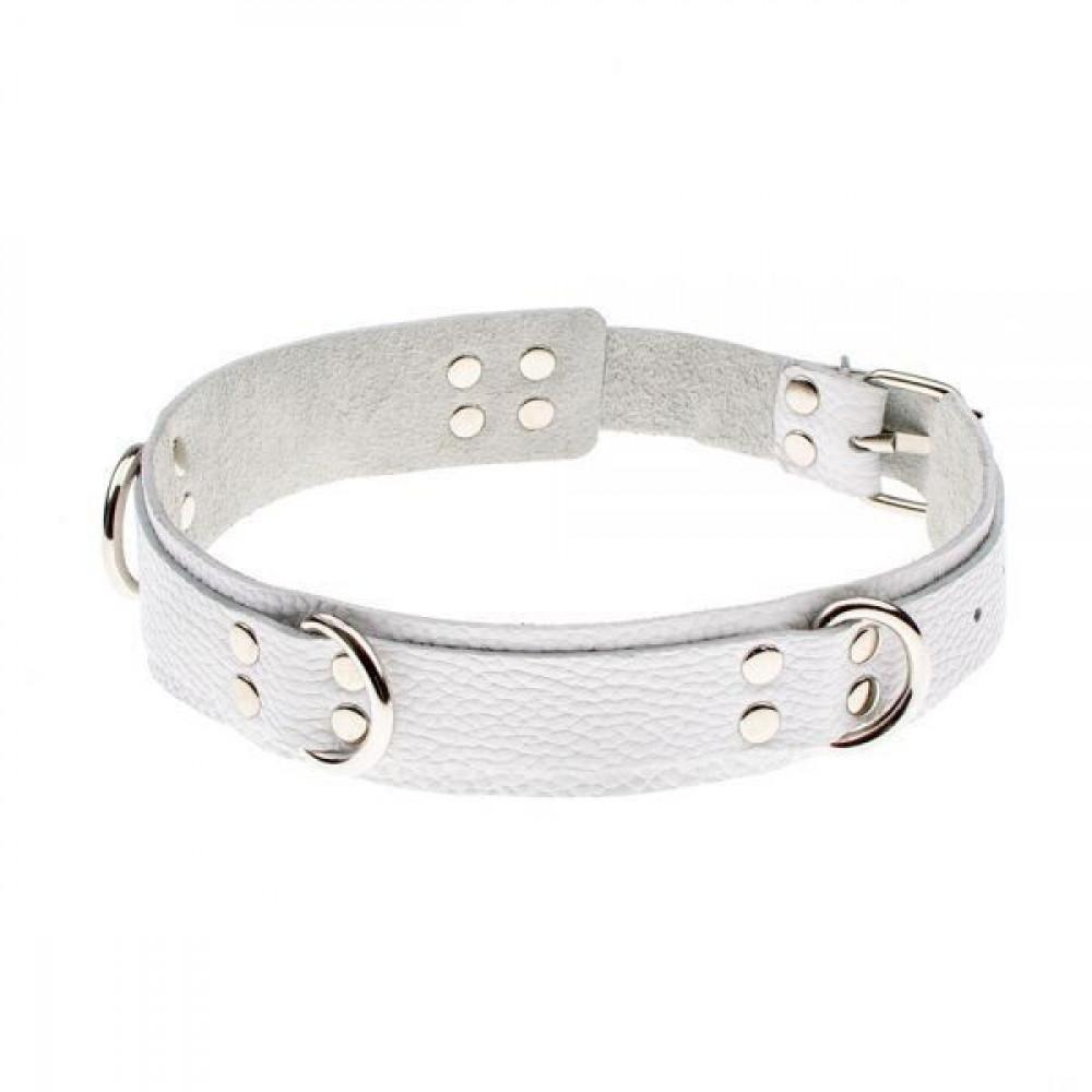 БДСМ ошейники - Ошейник Slave leather collar,white