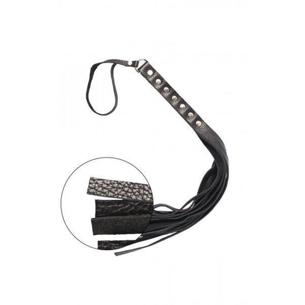БДСМ плети, шлепалки, метелочки - Флогер S&M Fancy Leather Floger Black 2