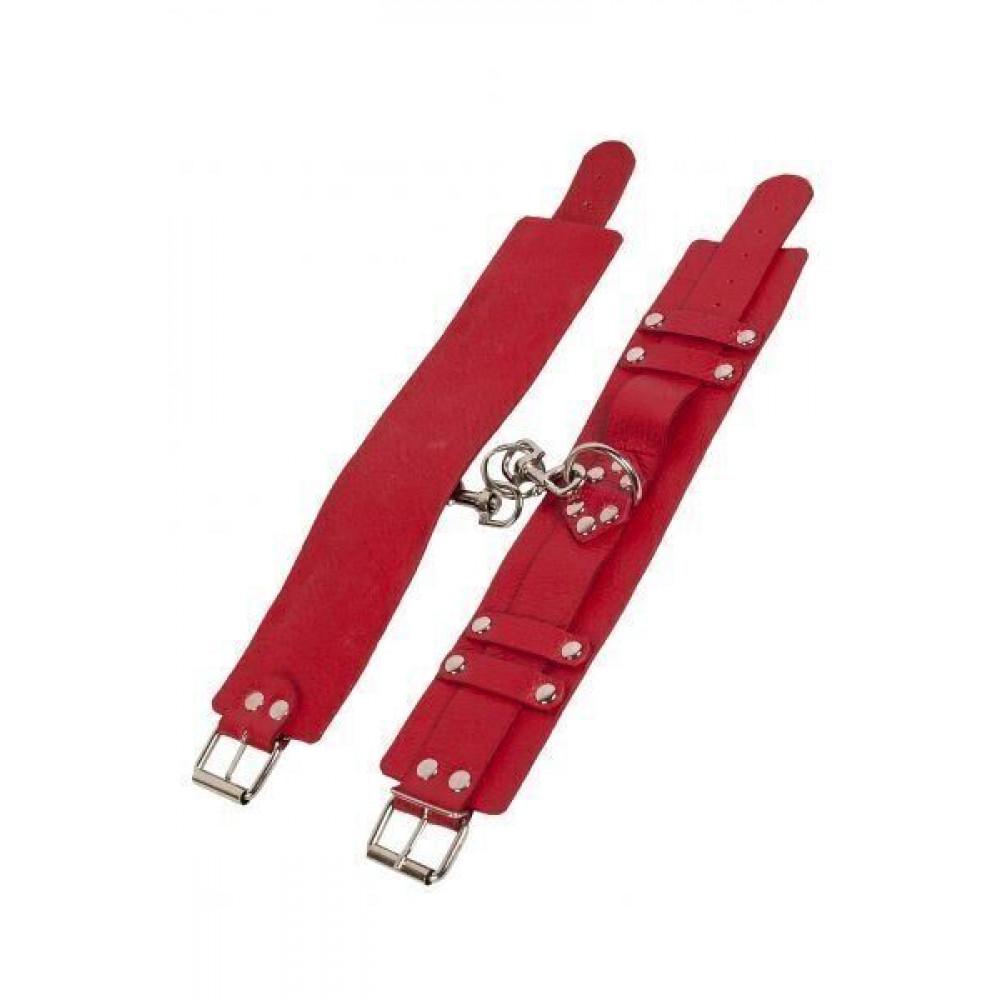 БДСМ наручники - Оковы Leather Dominant Leg Cuffs, red 2