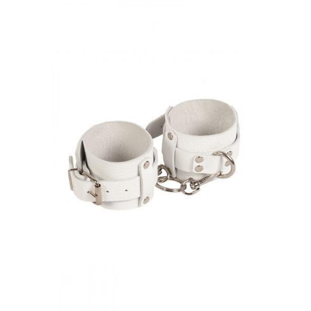 БДСМ наручники - Наручники Leather Dominant Hand Cuffs,white 3