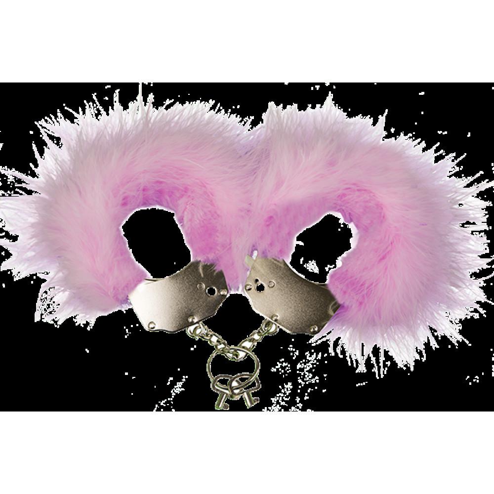 БДСМ наручники - Наручники металлические с розовой отделкой Adrien Lastic Handcuffs Pink