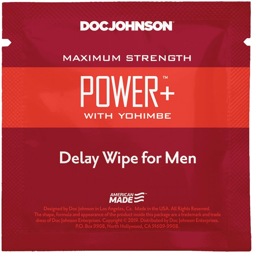 Стимулирующие средства и пролонгаторы - Пролонгирующая салфетка Doc Johnson Power+ Delay Wipe For Men с экстрактом йохимбе