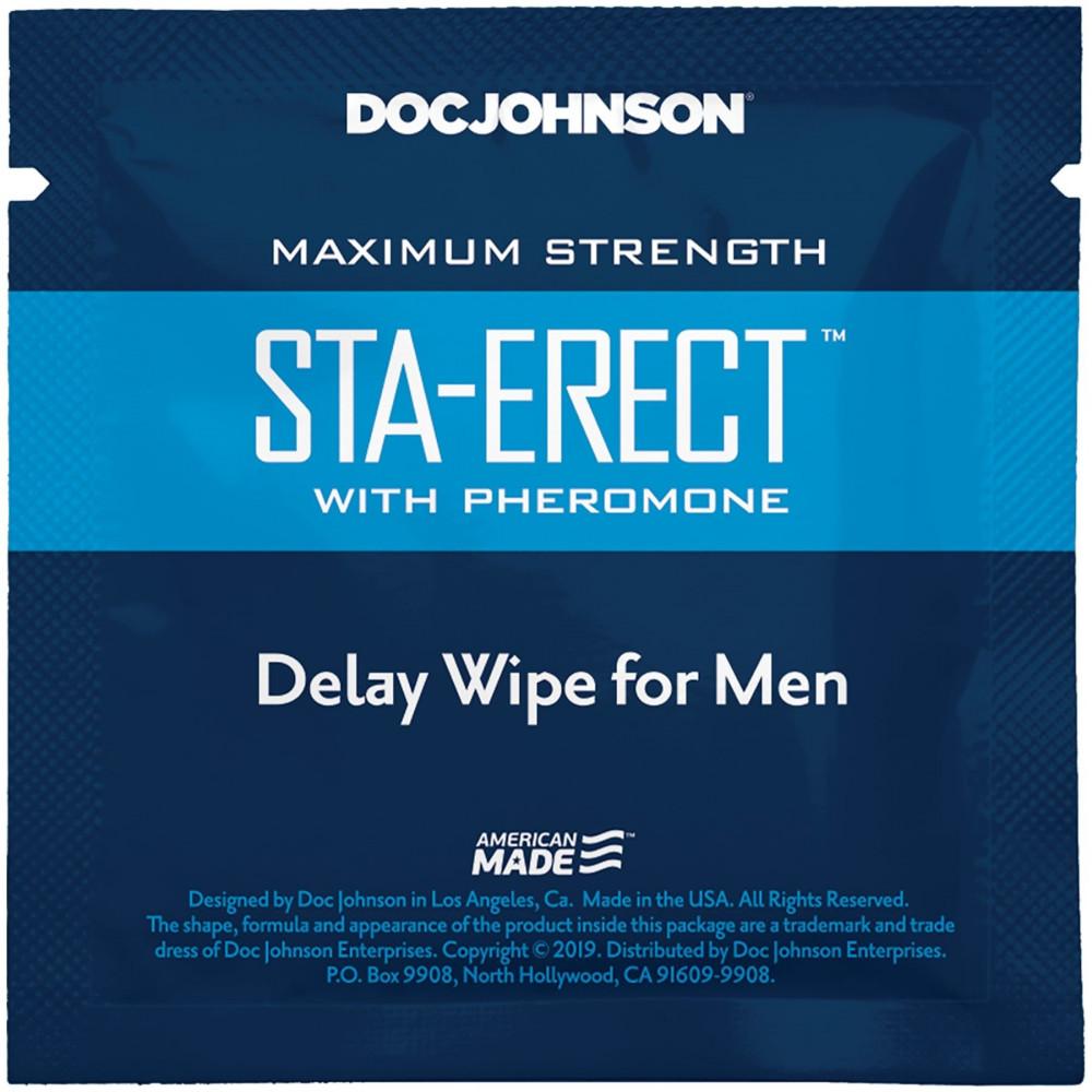 Стимулирующие средства и пролонгаторы - Пролонгирующая салфетка Doc Johnson Sta-Erect Delay Wipe For Men с феромонами