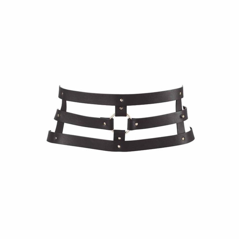 БДСМ аксессуары - Широкий пояс с наручниками цвет: черный, MAZE (Испания)