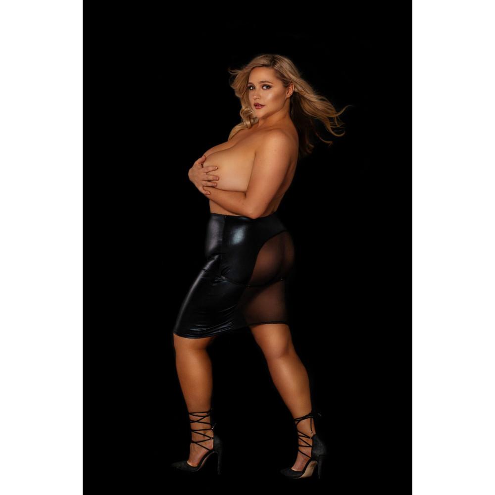 """Одежда для БДСМ - Юбка под латекс с прозрачной сеткой сзади """"Развратная Анжелика"""" размер XL"""