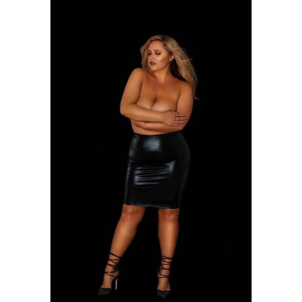 """Одежда для БДСМ - Юбка под латекс с прозрачной сеткой сзади """"Развратная Анжелика"""" размер XL 1"""