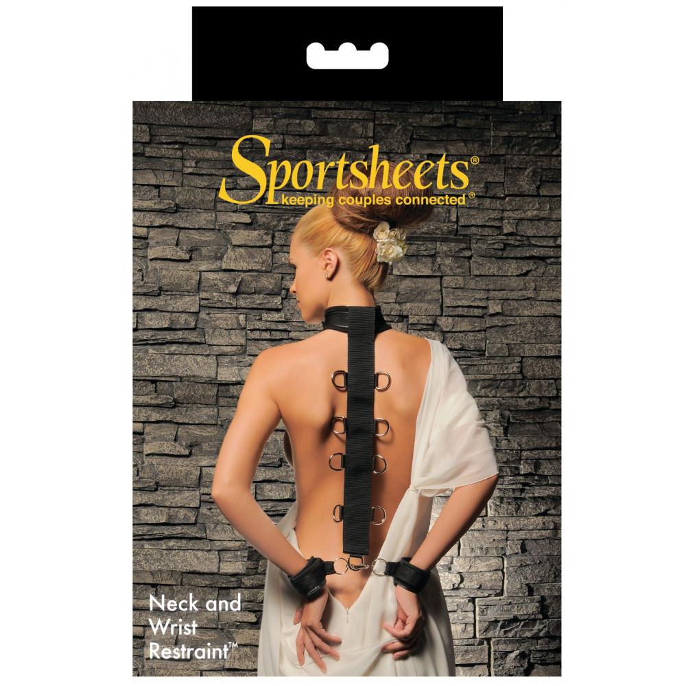 БДСМ наручники - Ошейник с наручниками Sportsheets Neck & Wrist Restraint 1