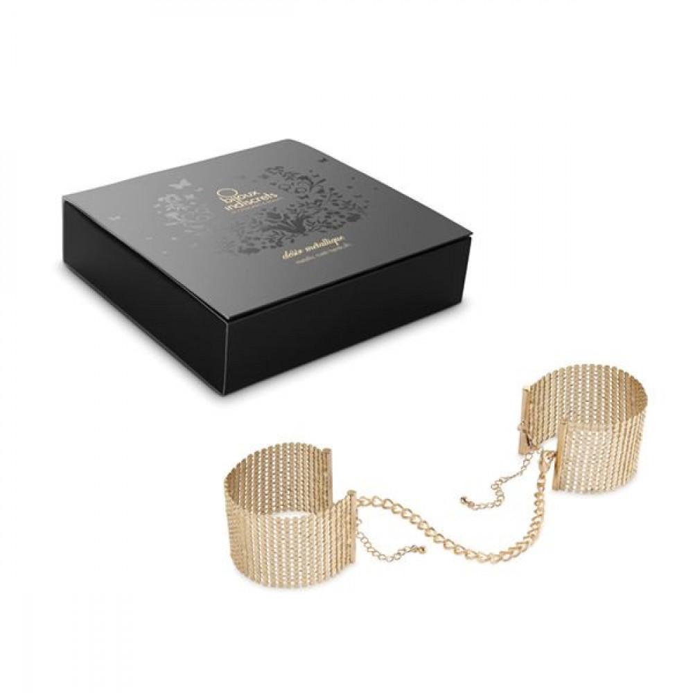 БДСМ наручники - Наручники Bijoux Indiscrets Desir Metallique Handcuffs - Gold 3