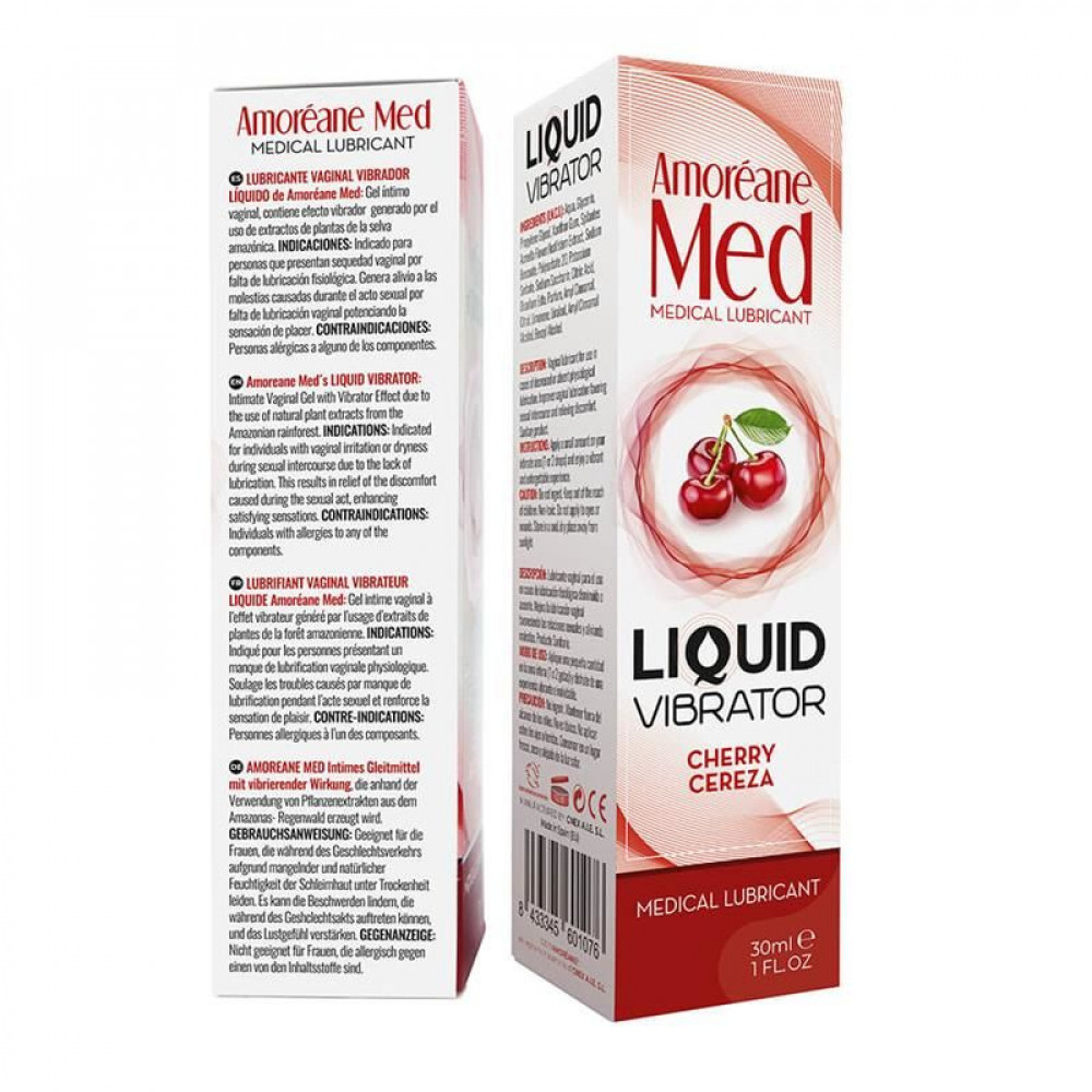 Жидкий вибратор - Лубрикант с эффектом вибрации Amoreane Med Liquid Vibrator Cherry (30 мл) 2