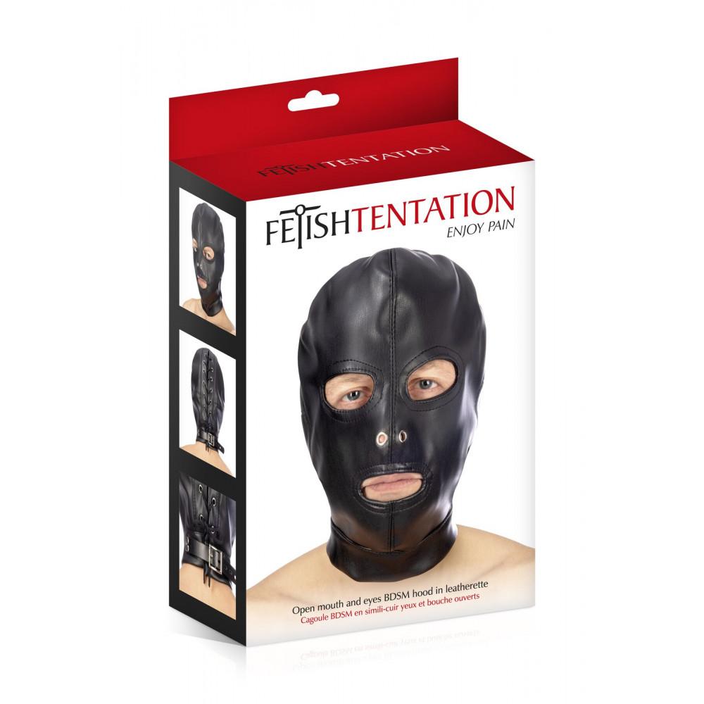 Маска для БДСМ - Капюшон для БДСМ с открытыми глазами и ртом Fetish Tentation Open mouth and eyes BDSM hood 2