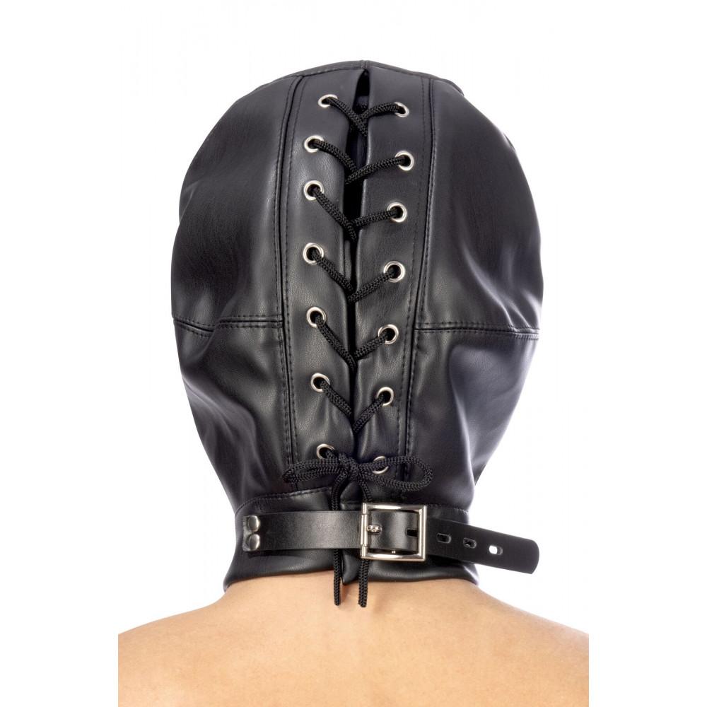 Маска для БДСМ - Капюшон для БДСМ с открытыми глазами и ртом Fetish Tentation Open mouth and eyes BDSM hood 1