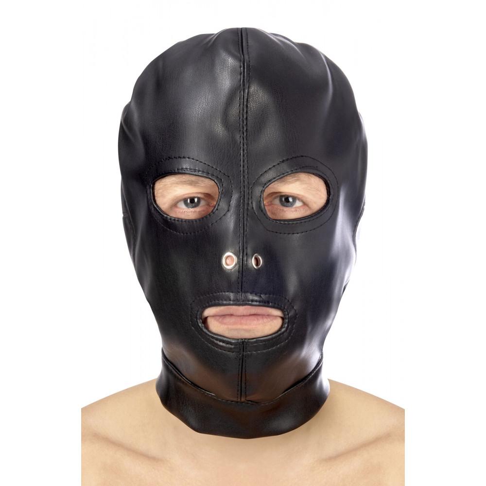Маска для БДСМ - Капюшон для БДСМ с открытыми глазами и ртом Fetish Tentation Open mouth and eyes BDSM hood