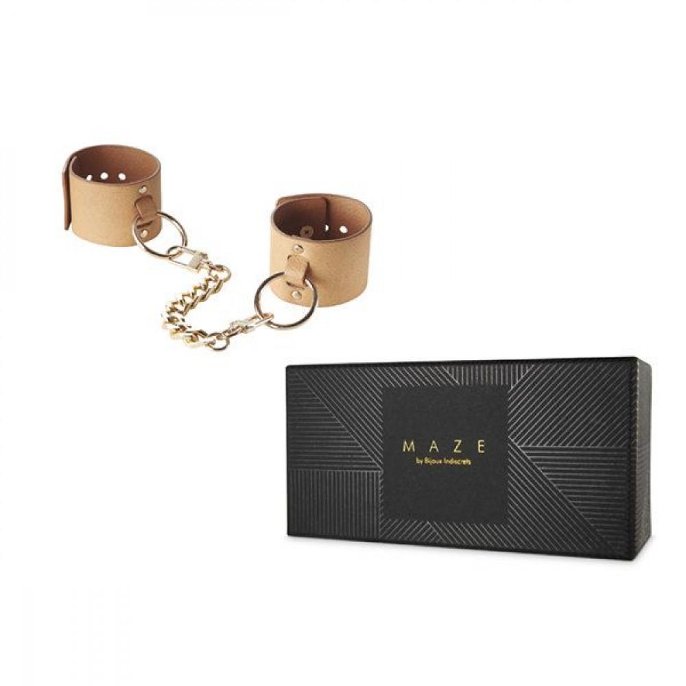 БДСМ наручники - Наручники Bijoux Indiscrets MAZE - Wide Cuffs Brown 1