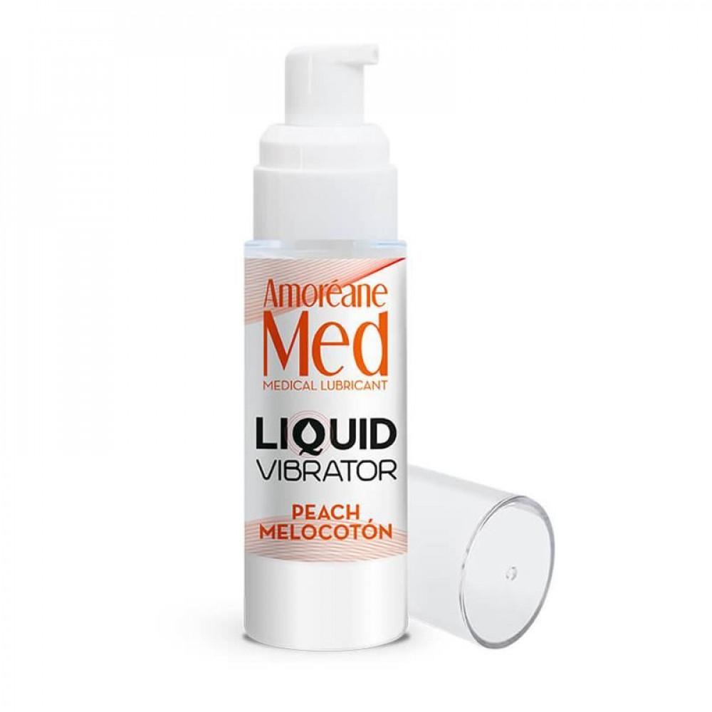 Жидкий вибратор - Лубрикант с эффектом вибрации Amoreane Med Liquid Vibrator Peach (30 мл) 1