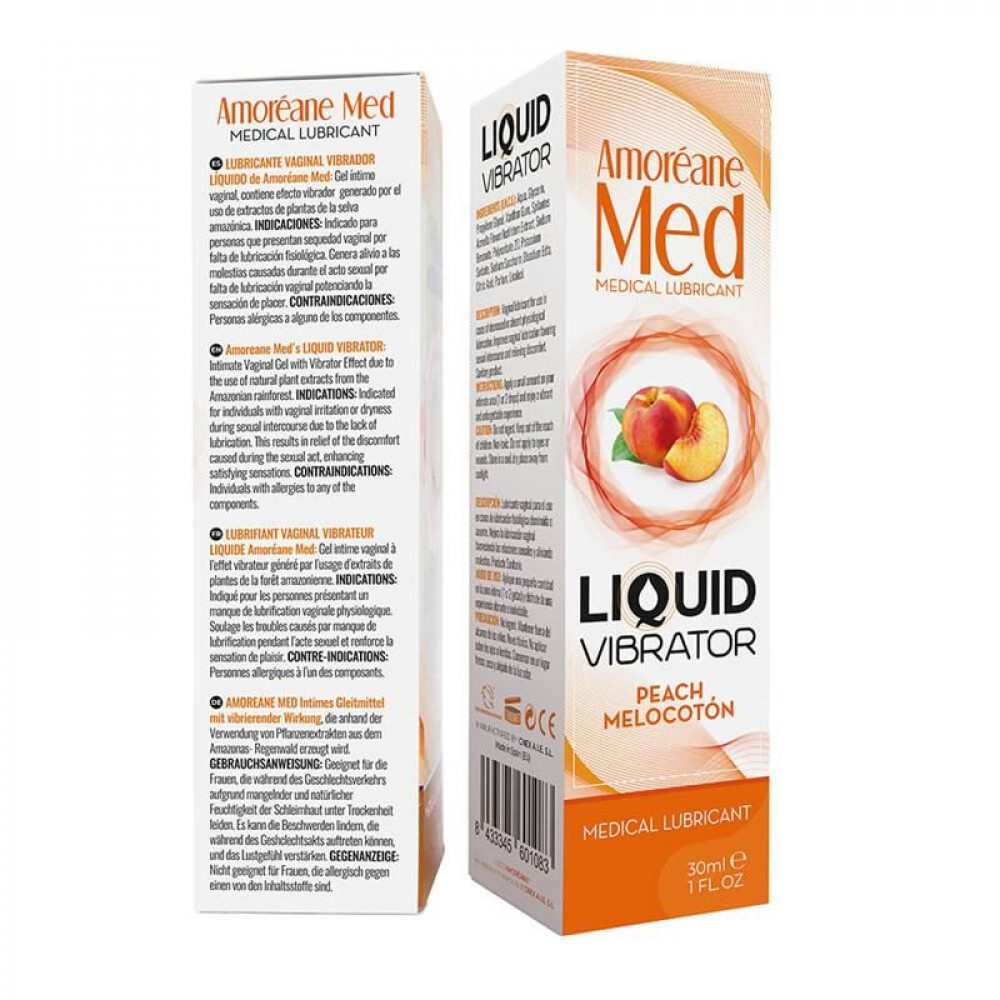Жидкий вибратор - Лубрикант с эффектом вибрации Amoreane Med Liquid Vibrator Peach (30 мл) 2