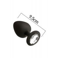 Анальная пробка с кристаллом MAI Attraction Toys №49 Black, длина 9,5см, диаметр 4,5см