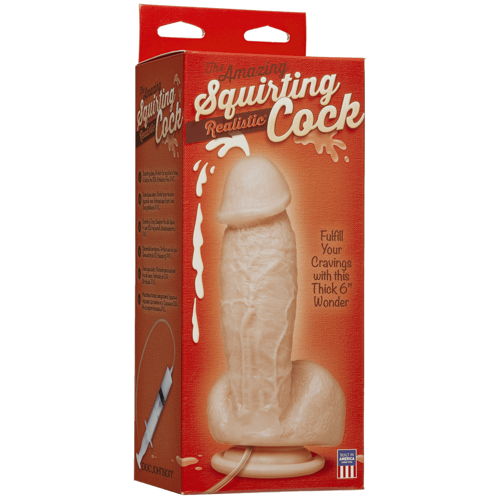 Фаллоимитаторы на присоске, двойные - Кончающий фаллоимитатор Doc Johnson The Amazing Squirting Realistic Cock 2
