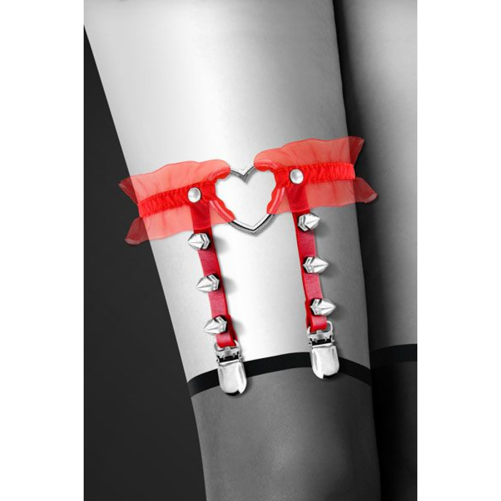 Одежда для БДСМ - Гартер Bijoux Pour Toi - WITH HEART AND SPIKES Red 1