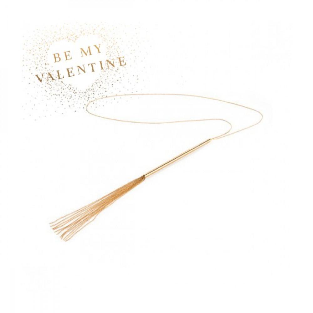 БДСМ плети, шлепалки, метелочки - Колье - хлыстик MAGNIFIQUE золотистый металл, Bijoux Indiscrets  2