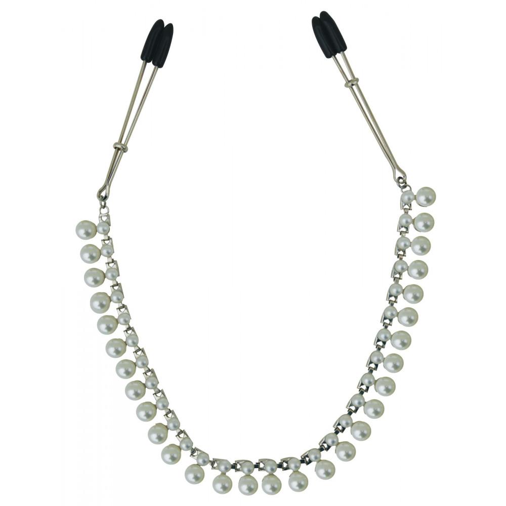 БДСМ аксессуары - Украшение цепочка с зажимами для сосков Sportsheets Midnight Pearl Chain Nipple Clips