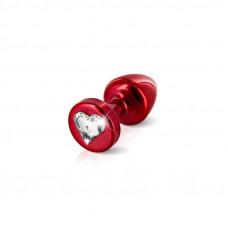 Анальная пробка со стразом Diogol Anni R Heart Red Кристалл 30мм