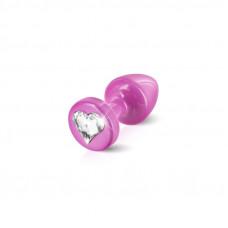 Анальная пробка со стразом Diogol Anni R Heart Pink Кристалл 30мм