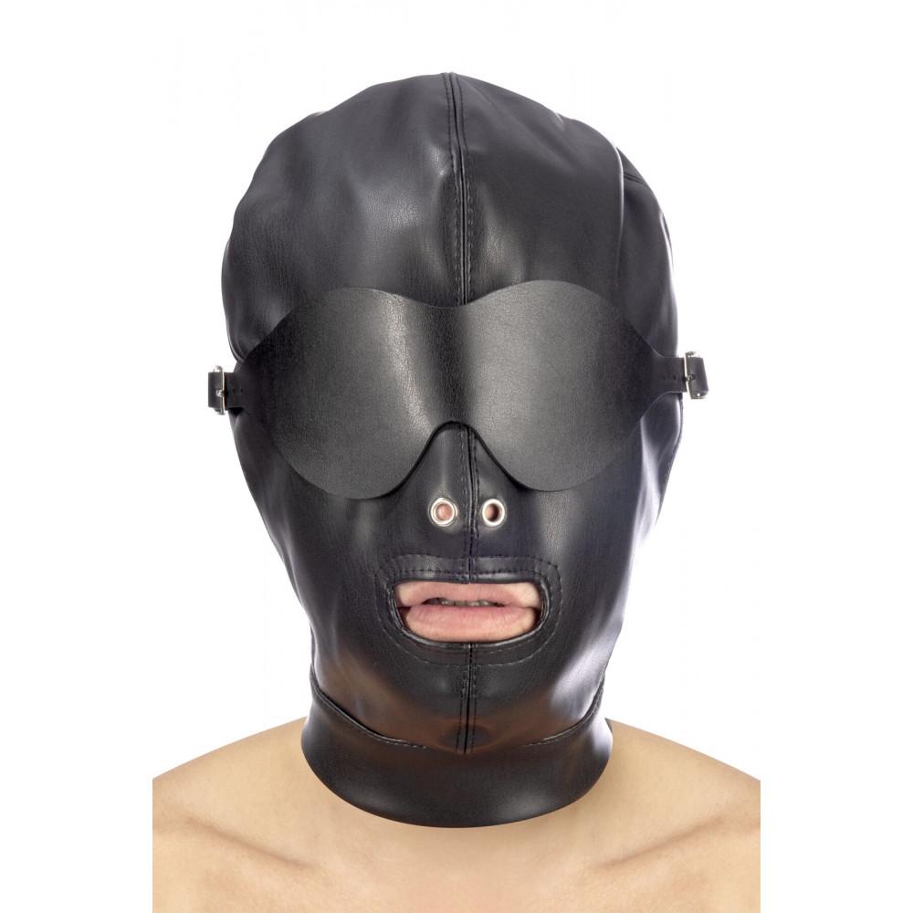 Маска для БДСМ - Капюшон для БДСМ со съемной маской Fetish Tentation BDSM hood in leatherette with removable mask