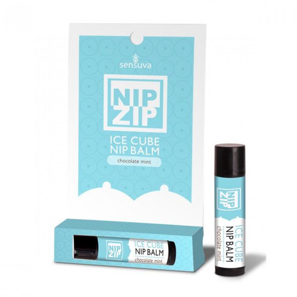Стимулирующие средства и пролонгаторы - Охлаждающий бальзам для сосков Sensuva - Nip Zip Chocolate Mint (4 г)