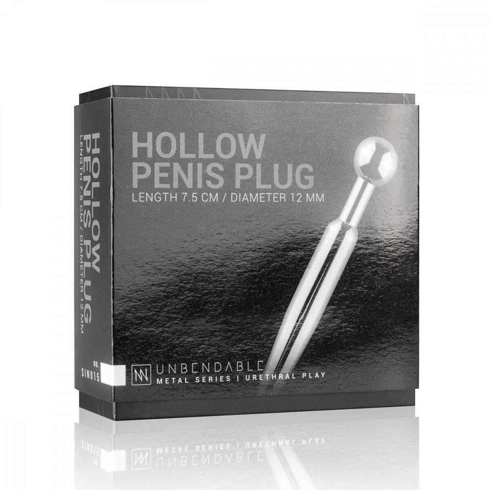 БДСМ аксессуары - Полый уретральный стимулятор Sinner Gear Unbendable - Hollow Penis Plug, длина 7,5см, диаметр 12мм 4