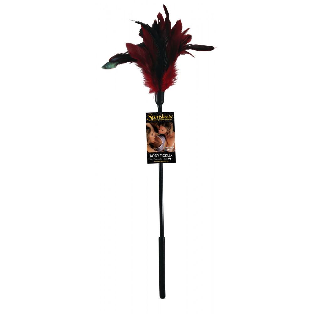 БДСМ плети, шлепалки, метелочки - Щекоталка с петушиными перьями Sportsheets Starburst Tickler Красная 1
